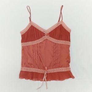 BEBE Satin Babydoll Lace Velvet Camisole Peach